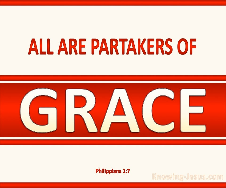 Philippians 1:7 All Are Partakers Of Grace (red)