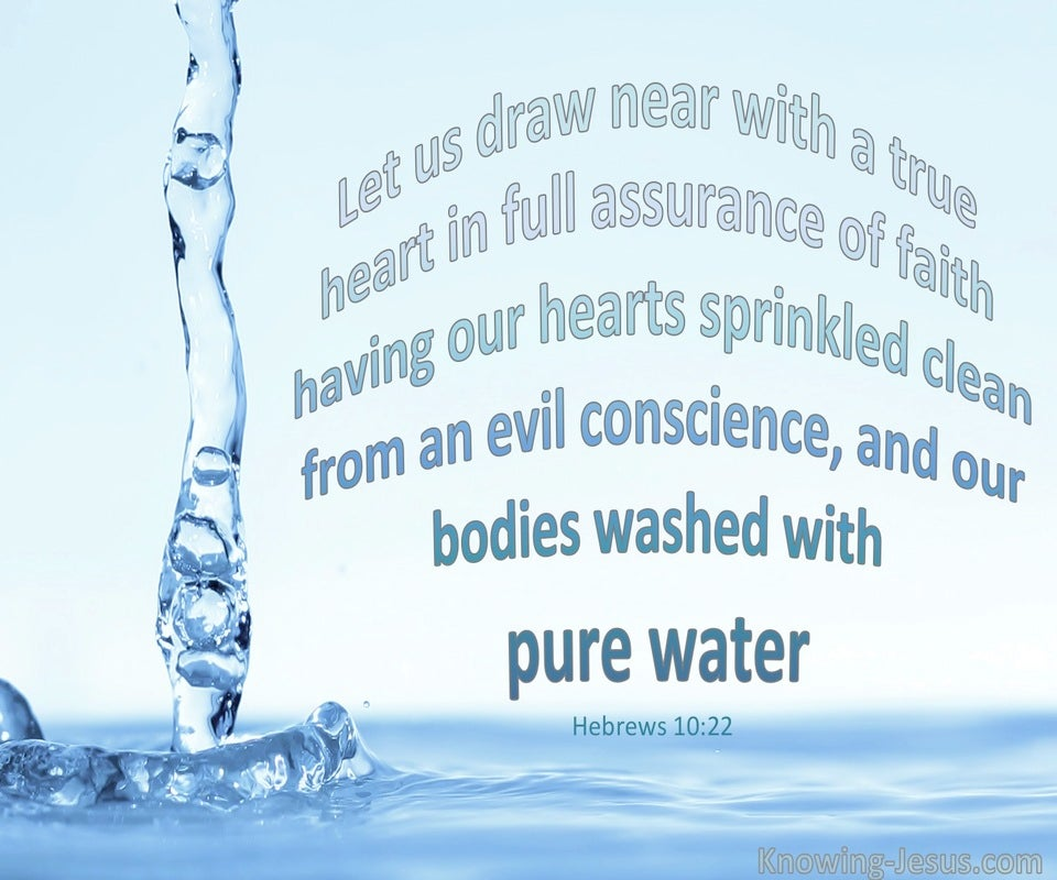 Hebrews 10:22 Bodies Washed With Pure Water (blue)