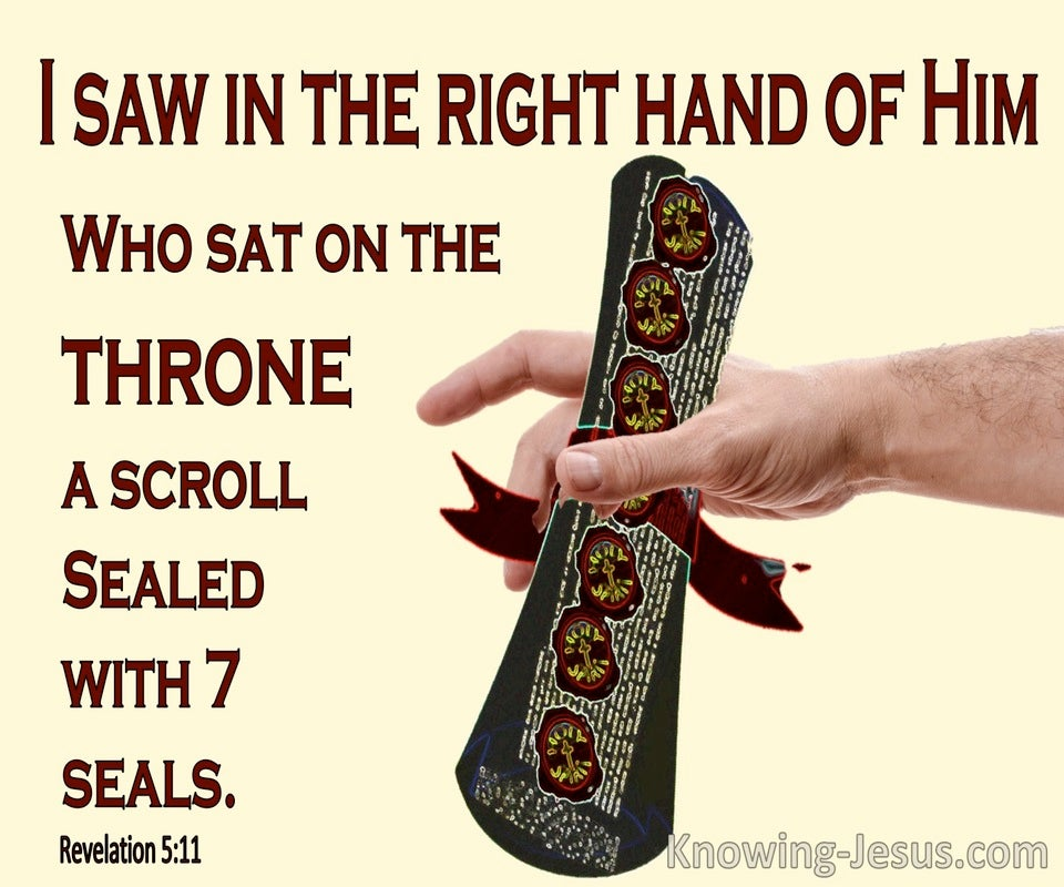Revelation 5:1 A Scroll Written Inside and on the Back (yellow)