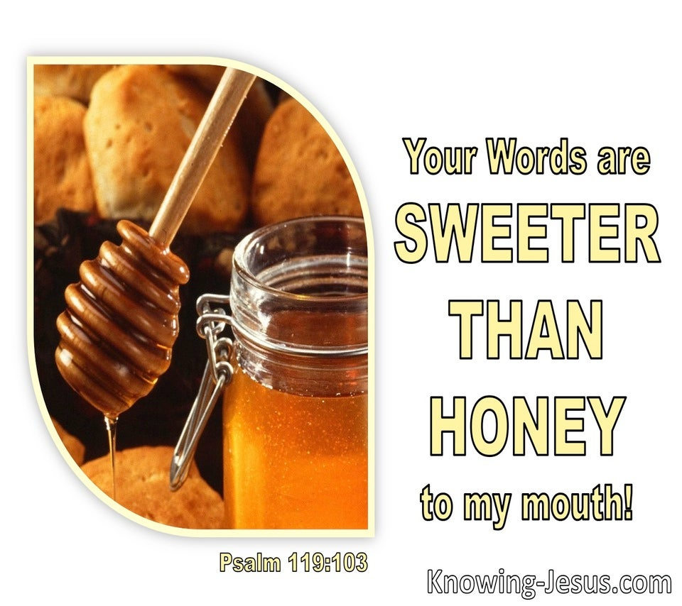 Psalm 119:103 Your Words Are Sweeter Then Honey To My Mouth (white)