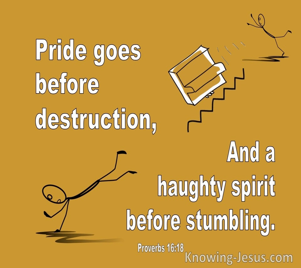 Proverbs 16:18 Pride Goes Before Destruction A Haughty Spirit Goes Before A Fall (white)