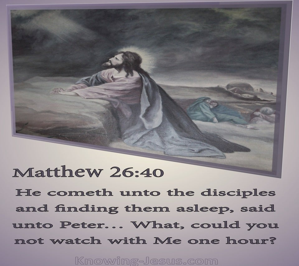 Matthew 26:40 Could You Not Watch With Me One Hour (purple)