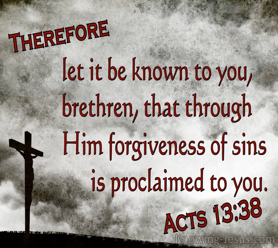Acts 13:38 Brethren, Through Him Is Forgivenss Of Sins Proclaimed (gray)
