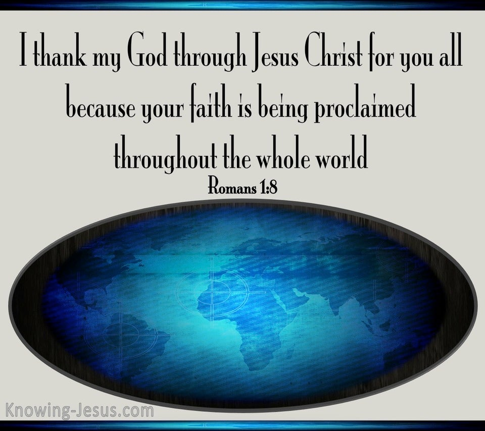 Romans 1:8 I Thank My God For You All (blue)