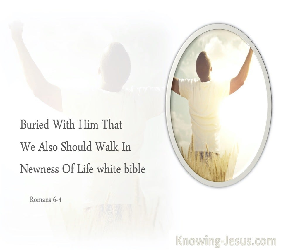 Romans 6:4 Buried With Him That We Also Should Walk In Newness Of Life (white)