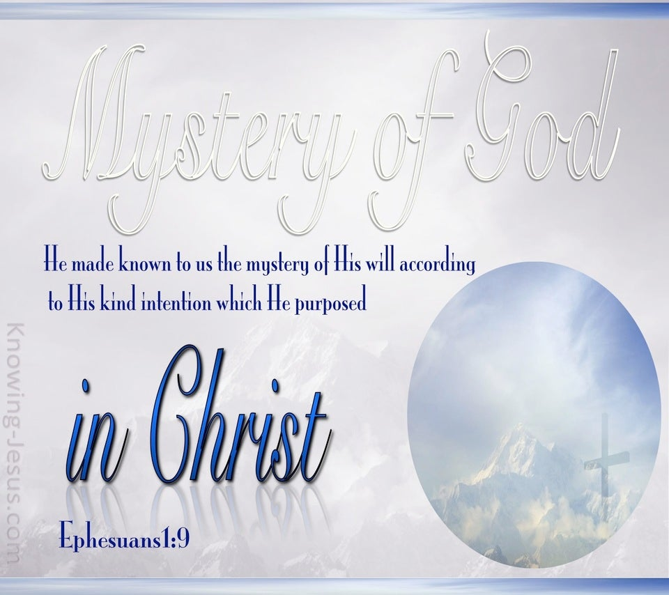 Ephesians 1:9 Mystery Of God In Christ (blue)