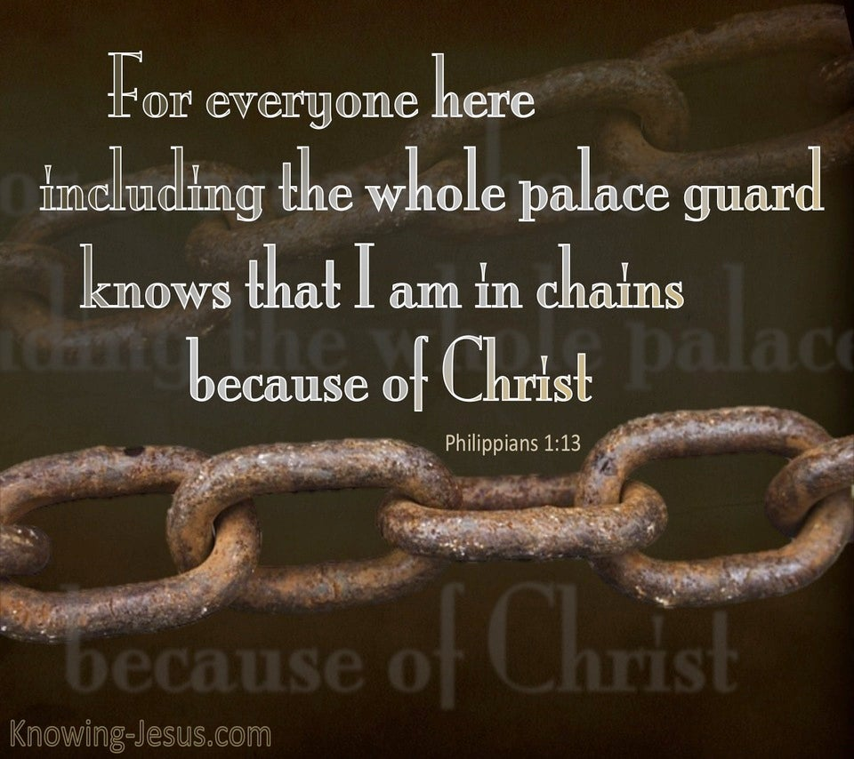 Philippians 1:13 In Chains For Christ (gray)