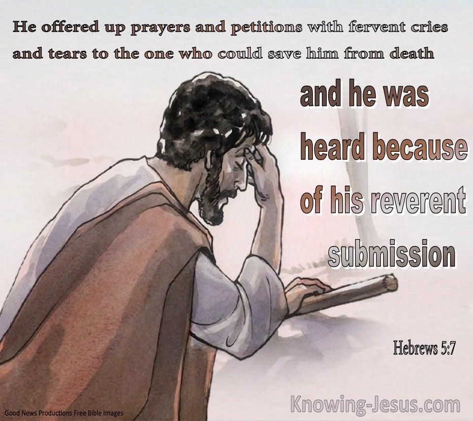 Hebrews 5:7 he Offered Up Prayers And Petition And Was Heard Because Of His Reverent Submissionbrown