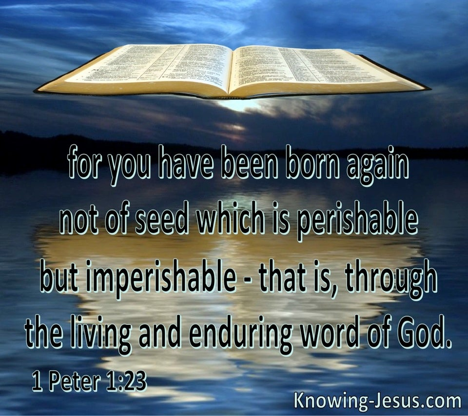1 Peter 1:23 Born Again Of The Imperishable Word Of God (blue)